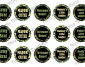 Army Brat/ Major Cutie military - 1 inch image sheets for bottle caps