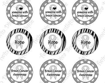 Survivor, Fighter - Brain Cancer Awareness - 1 inch image sheets for bottle caps