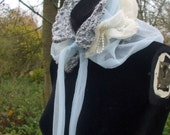 Snowflake Columbine Bridal Ruff - Grey and White Crochet Romantic Winter Bridal Ruff with Blue and Cream Ruffled Fabric
