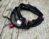 Black Wrap Bracelet Sari Silk Infinity Autumn Fall Fashion Purple Pink Tattered Couture Necklace Womans Accessory