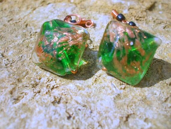 Green Wirework Cufflinks  Gold Copper Boho Gentlemen Male For Him Jewellery Accessory Gift