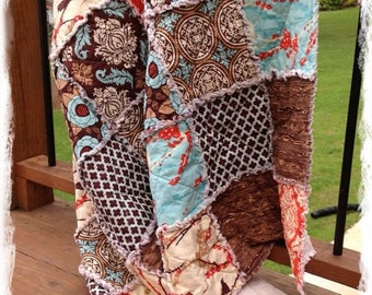Full Rag Quilt - Aviary 2 Brown Aqua Saffron Orange Modern Bedding Handmade