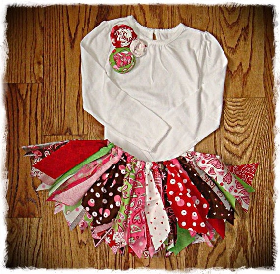 Items similar to rag tutu valentine girls shabby chic skirt and shirt outfit toddler 3t on etsy - Shabby chic outfit ideas ...