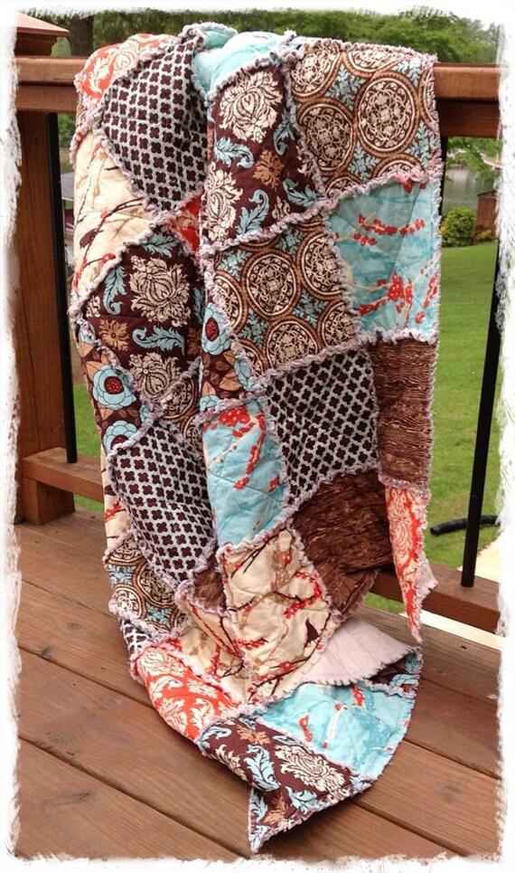 Rag Quilt - Throw Twin Full Queen King Size - Aviary 2 Brown Aqua Saffron Orange Modern Bedding Handmade