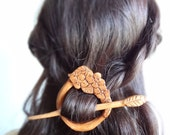 flower wood barrette shawl pin hair accessories
