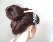 On sale The mermaid - Maple wood kanzashi geisha hair stick ocean mint
