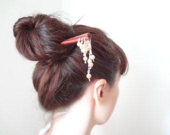 Pink hair stick japanese kanzashi hair pin gesiha hair accessories
