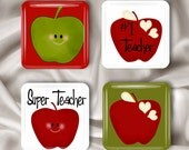 Glass Magnets Number One Teacher set of 4