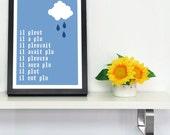 SAMPLE SALE Canvas Wrap Print Rain Cloud French Typographic Digital A4 Artwork
