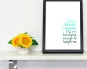 Pride and Prejudice Quotation Art Mr Darcy She is Tolerable Typographic A4 or 8x10 Art Print