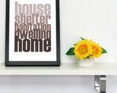 SAMPLE SALE House, Home Purple Digital Typographic A4 or Artwork