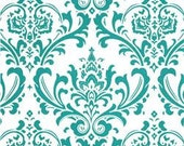 "Two  96"" x 50""  Custom Drapes - Rod Pocket Panels  in 100% Cotton Fabric - Damask Turquoise"