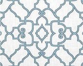 "Two 96"" x 50"" Custom Panels -   Designer Fabric  -   Lattice Design  -  Blue or Taupe"
