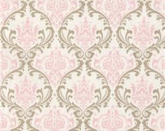"""Two  96"""" x 50""""  Custom Curtain Panels  - Rod Pocket Panels  in 100% Designer Cotton Fabric  Pink and Taupe Damask"""