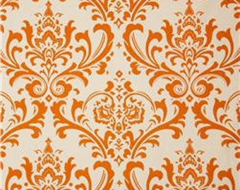 "Two 96"" x50""  Custom Curtain Panels - Rod Pocket Panels  in 100% Designer Cotton Fabric - Orange Traditions"
