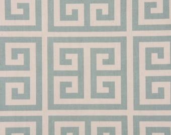 "Two  96"" x 50""  Custom  Curtain Panels - Village  Blue/Natural Greek Key"