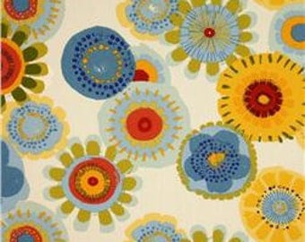 Two 20 x 20  Designer Decorative Pillow Covers for Indoor/Outdoor - Floral Circles - Red/Yellow/Green