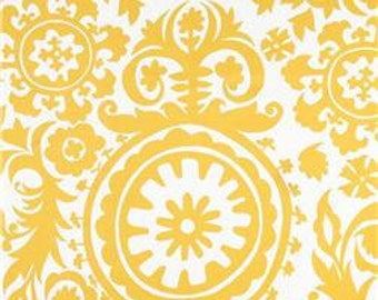"Two  96"" x 50""  Custom Drapes - Rod Pocket Panels -  Designer Fabric - Corn Yellow Suzani"