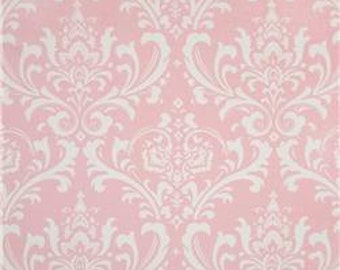 """Two  96"""" x 50""""  Custom  LINED  Curtain Panels - Rod Pockets   in 100% Designer  Fabric - Damask -  Pink and White"""