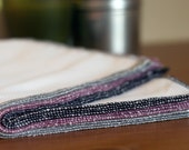 12 cotton birdseye unpaper towels - Midnight- black, gray and purple thread