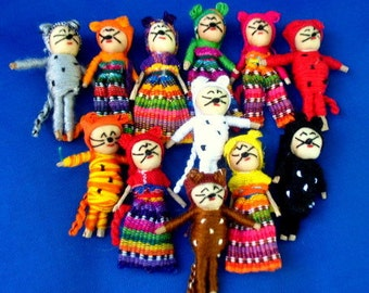 12 Handmade 2 inch Worry Cats  Best Quality made in Guatemala