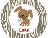 Personalized Melamine Valentine Puppy Plate