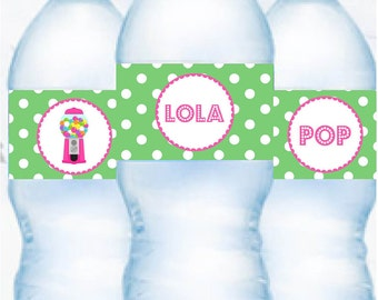 Gumball Pink  Printable Water Bottle Labels