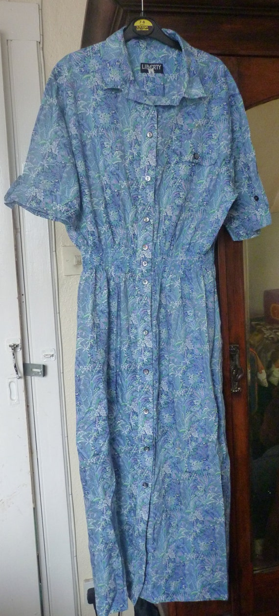 LIBERTY Vintage 1980s Cotton Print Summer Tea DRESS Ditsy Floral