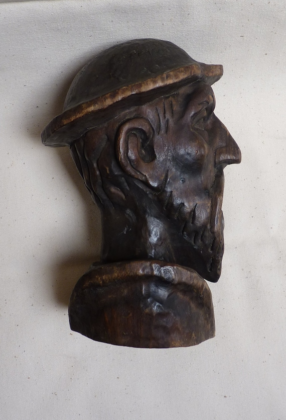 VINTAGE Wooden Don Quixote Carved Bust Head Spanish Hand Made