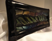 Fused Glass Dish with Iridescent blue, purple, green and gold  design