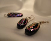 Dichroic Fused Glass Pendant and Earring Set Shimmering Purple