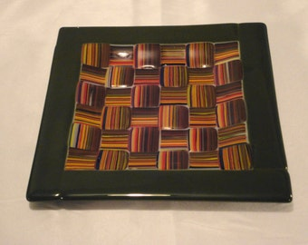 Fused Woven Glass Dish Criss-Cross