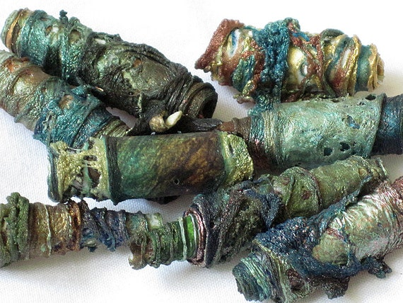 Mixed media textile art beads hand made with Tyvek - sea green, ocean blue, copper, rust, brown and gold