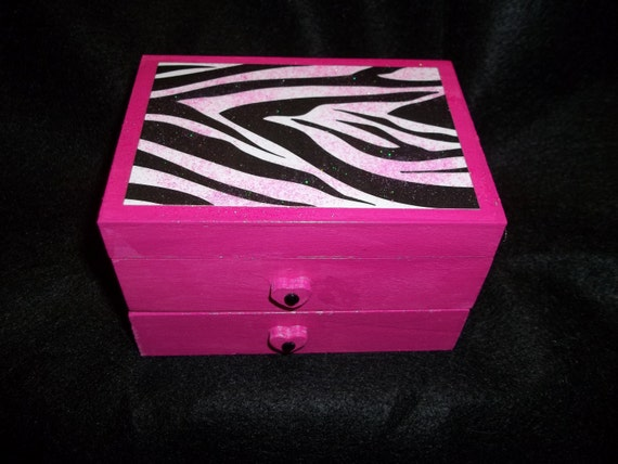 Hot Pink Fuschia Zebra Print Jewelry Box