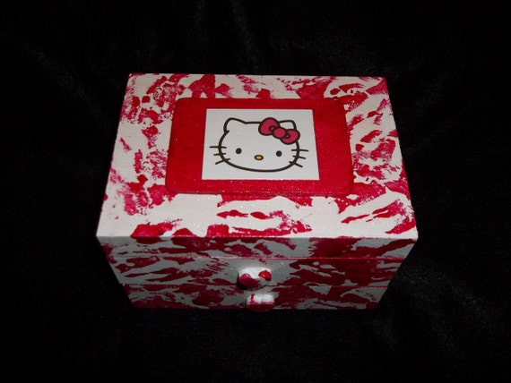 Hello Kitty Decoupaged Painted White and Red Jewelry Box With Drawer