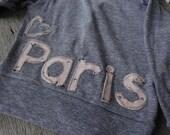Paris Sweater, Cardagin, Swarovski Crystal Gray Sweater, button up sweater, Cute girl Sweater, Baby Gift, Eiffel tower Sweater