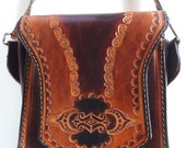 Vintage BROWN ARGENTINA LEATHER Shoulder Bag Crossbody Purse Small