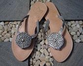 Mare Metallic Strap Leather Sandals 065SLVR