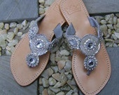 Mare Jeweled Leather Sandals 034SLVR