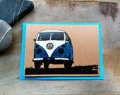 GOCCO  screen printed vw camper van  card.