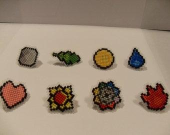 Kanto Region Pokemon Badges (cross stitched)