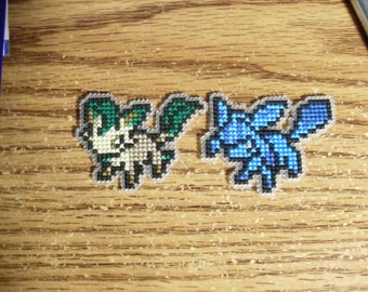 Leafeon and Glaceon Cross Stitched Pins or Magnets
