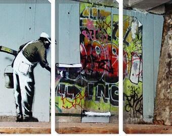 Banksy Graffiti Wallpaper Hanging