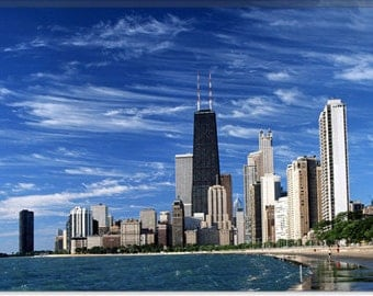 "Downtown Chicago Canvas Giclee Art Print (60) 18""x12"""
