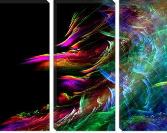 "Fire Waive Canvas Giclee Art Print (124) 60""x40"" 3-Piece"