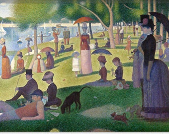 """Sunday Afternoon on the Island of La Grande Jatte by Georges Seurat Canvas Giclee Art Print (301) 18""""x12"""""""