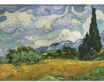 """Wheatfield with Cypresses 1889 by Vincent van Gogh Canvas Art Print (1011) 40""""x26"""""""