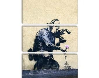 "Camera Man & Flower by Banksy Canvas Art Print (2053) 60""x40"" 3-Piece"