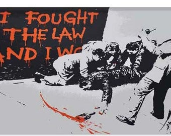 """I Fought The Law And I Won by Banksy Canvas Art Print (2122) 12""""x8"""""""