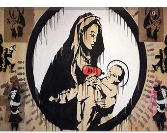 """Madonna And Child by Banksy Canvas Art Print (2085) 12""""x8"""""""